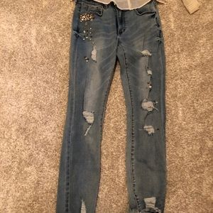 Buffalo mid rise skinny jeans with embellishment